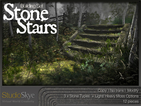 Skye Stone Stairs Building Set - Materials Enabled - 100% MESH