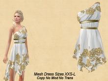 Quinn Dress Flowers Gold-White