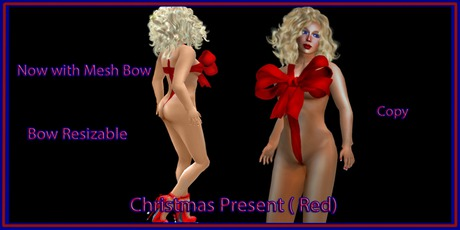 CHRISTMAS PRESENT BOW  ( red ) ( Mesh Bow )