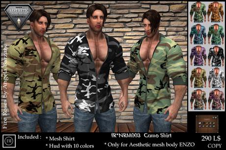 fR* NRM003 Camo Shirt NIRAMITH ,AESTHETIC, ENZO, MEN, MESH