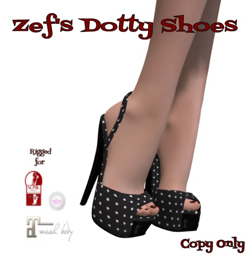 Zef's Rockabilly Dotty Shoes for Maitreya Slink & TMP