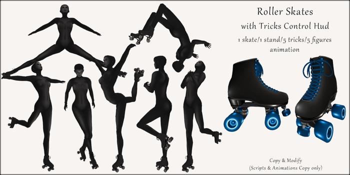 AvaGirl - Roller Girl - Roller Skates with Tricks Control Hud Black/Blue