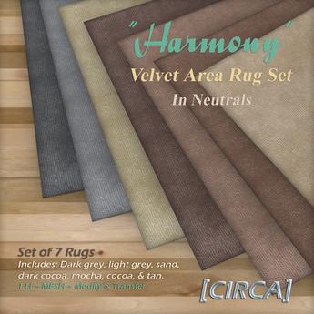 """[CIRCA] - """"Harmony"""" - Velvet Area Rug Set in Neutrals"""