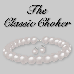 (Caroline's) White Pearl Choker and Pearl Stud Earrings