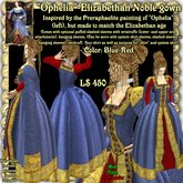 """Wunderlich's """"Ophelia"""" - blue-red Elizabethan Noble Gown"""