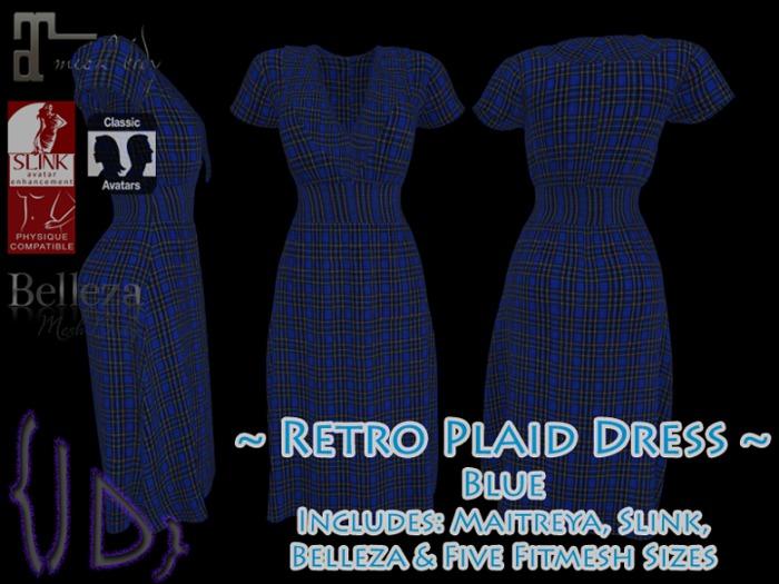 {JD} Retro Plaid Dress - Blue