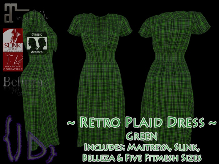 {JD} Retro Plaid Dress - Green