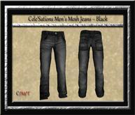 Cele'Sations Men's Mesh Jeans ~ Black Pk