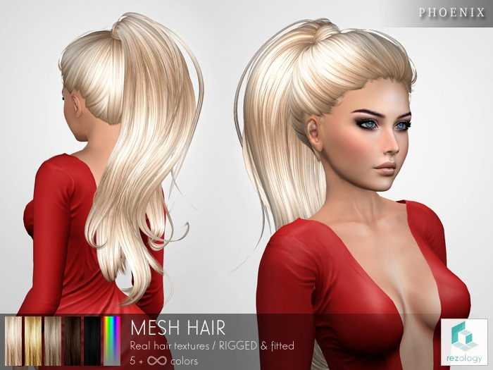rezology Phoenix (RIGGED mesh hair) - 557 complexity