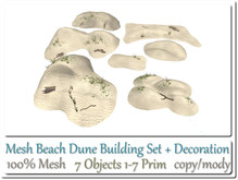 Beach Dune Building Set +Decorations 7 Objects 1-7 Prim co-mo