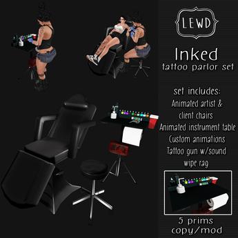 : Lewd :  Inked  ~ Tattoo Parlor set, Tattoo chair