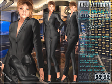 Bella Moda: Citta Femmina Black City Girl Suit / 5 Standard Sizes + Fitted  - FULL