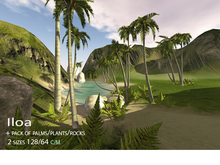 Y.B skybox mesh+palms trees/ferns/rocks(128/64)Iloa