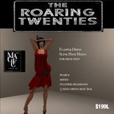 Roaring20's Red flapper dress complete outfit (Bag)