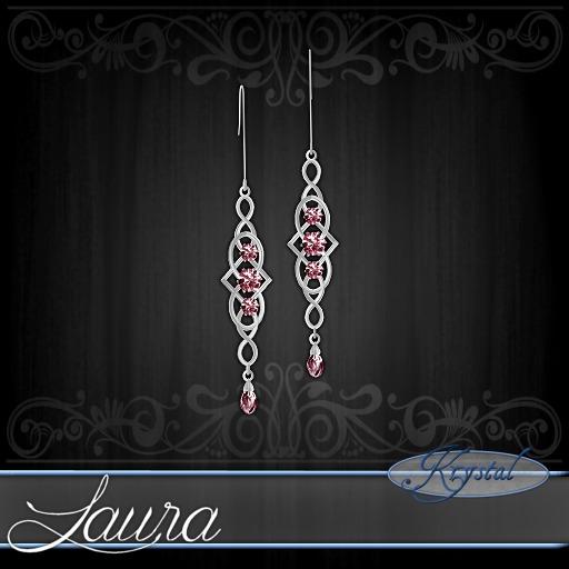 ::: Krystal ::: Laura - Earrings - Platinum - Rose