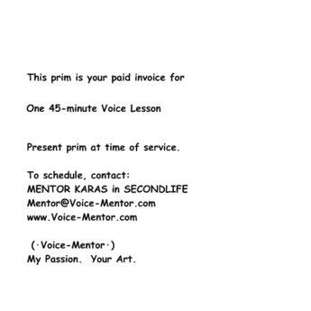 Voice Lesson:  Paid 45 minute