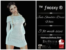 Jade White Shoulder Dress   Fit Mesh - tm (freeky)