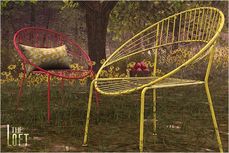 Second Life Marketplace The Loft Round Wire Chair Yellow