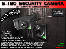 D.G. S-180 Security Camera BLACK DESIGN,DETECTS AVATARS ENTERING THE AREA AND SENDS PRIVATE MESSAGES.