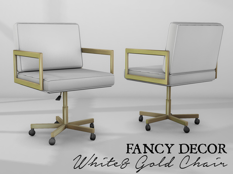 Fancy Decor White Gold Office Chair