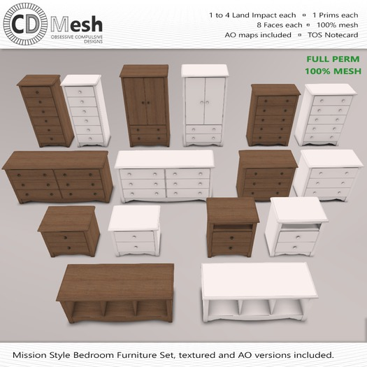 Second Life Marketplace Mission Style Furniture Bedroom Set Full Perm Mesh
