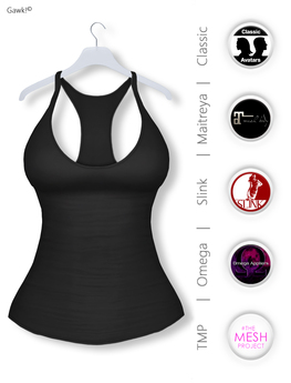 Gawk! Black Basic Tank Top incl. Appliers for #TheMeshProject, Maitreya Lara, Slink Physique & Omega System