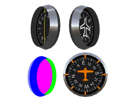 Full Perm Scripted Mesh Compass and Heading Instrument / Gauge 0.5li