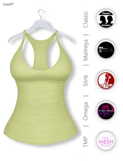 GAWK! Pastel Green Basic Tank Top | BoM & Appliers for Maitreya, Slink Physique, TMP & Omega System