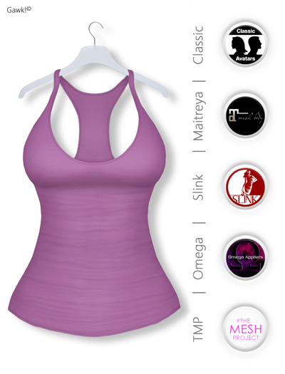 GAWK! Plum Basic Tank Top | BoM & Appliers for Maitreya, Slink Physique, TMP & Omega System