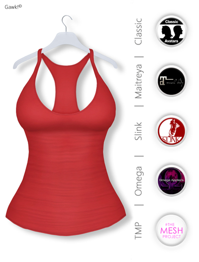 Gawk! Red Basic Tank Top incl. Appliers for #TheMeshProject, Maitreya Lara, Slink Physique & Omega System