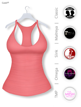 GAWK! Coral Basic Tank Top | BoM & Appliers for Maitreya, Slink Physique, TMP & Omega System