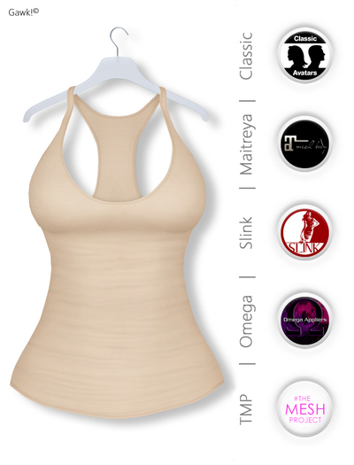 GAWK! Creme Basic Tank Top | BoM & Appliers for Maitreya, Slink Physique, TMP & Omega System