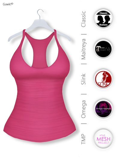 Gawk! Pink Basic Tank Top incl. Appliers for #TheMeshProject, Maitreya Lara, Slink Physique & Omega System