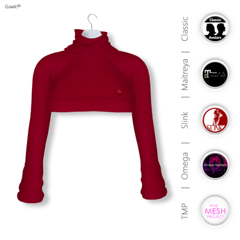 Gawk! Red Cozy Mini Sweatshirt incl. Appliers for #TheMeshProject, Maitreya Lara, Slink Physique & Omega System