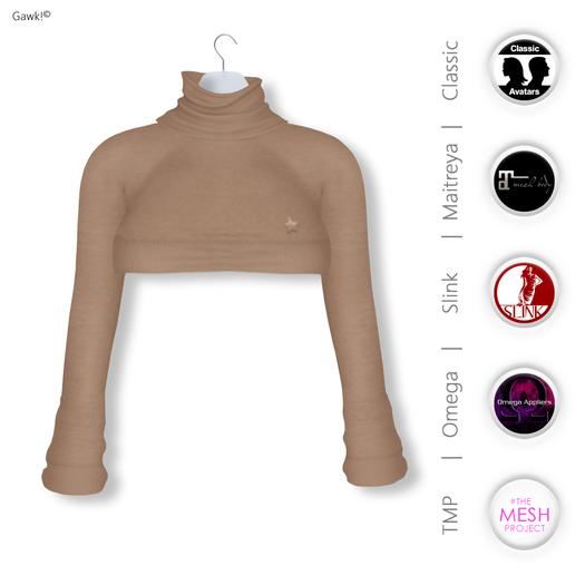 GAWK! Mocca Cozy Mini Sweatshirt   BoM & Appliers for Maitreya, Slink Physique, TMP & Omega System