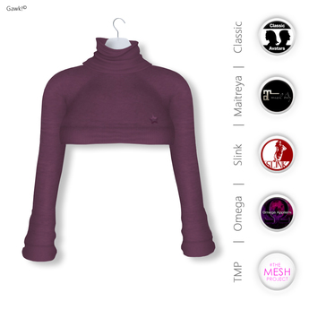 GAWK! Plum Cozy Mini Sweatshirt | BoM & Appliers for Maitreya, Slink Physique, TMP & Omega System