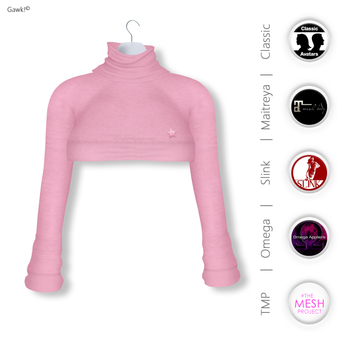 GAWK! Rose Cozy Mini Sweatshirt | BoM & Appliers for Maitreya, Slink Physique, TMP & Omega System