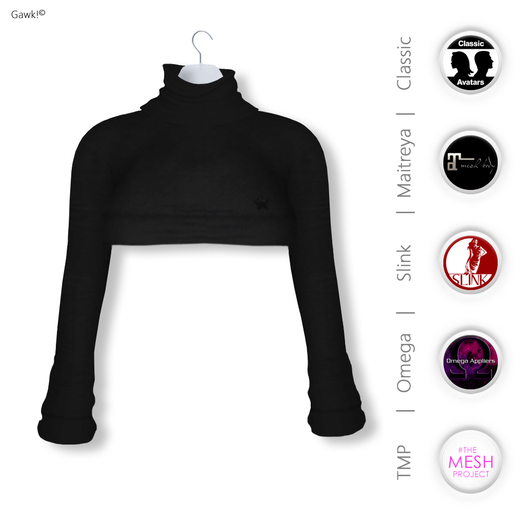 Gawk! Black Cozy Mini Sweatshirt incl. Appliers for #TheMeshProject, Maitreya Lara, Slink Physique & Omega System