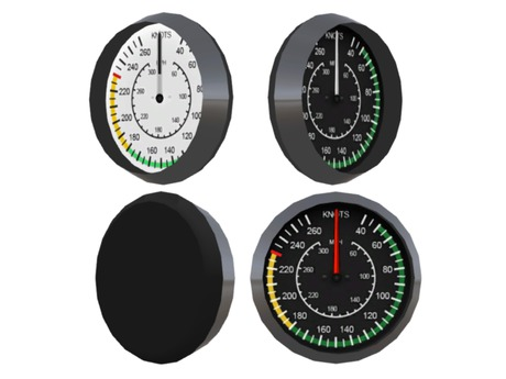 Full Perm Scripted Mesh  Speedometer -Aircraft / Speed Boat / Helicopter 0.5li (Instrument / Gauge / Airspeed Indicator)