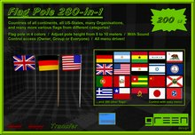 ●GD● Flag Pole 280-in-1 [Countries, US States, Organisations, and More]