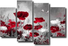 Red & Grey Field Poppies - Panel Wall Art - Boxed