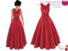 %50WINTERSALE Full Perm Scarlet Overkill Red Long Ruffled Skirt Retro Style Dress FITMESH - Slink - Maitreya - Belleza