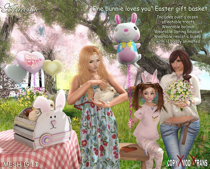 """Aphrodite Happy Easter basket """"Some bunny loves you"""""""