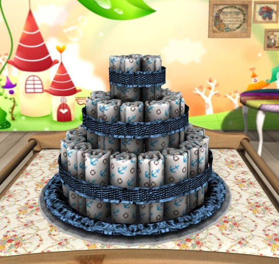 Aphrodite Welcome baby diapers cake decorative blue