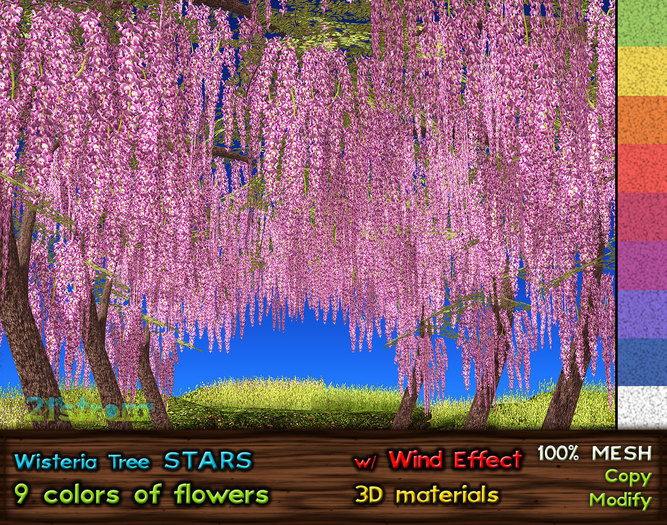 Wisteria Stars - Mesh Tree 4 LI, C+M, 9 Colors, Smooth Wind Effect