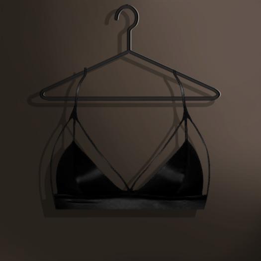 Naive. Omega Applier - Viviane Satin Strappy Bra - Black