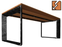 Industrial Table / Desk, steel and larch wood (Mesh, 2 LI)
