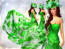 Paris METRO Couture: Lucky in Love Emerald Gown w/Appliers for Slink, Belleza, Omega (Maitreya and others)