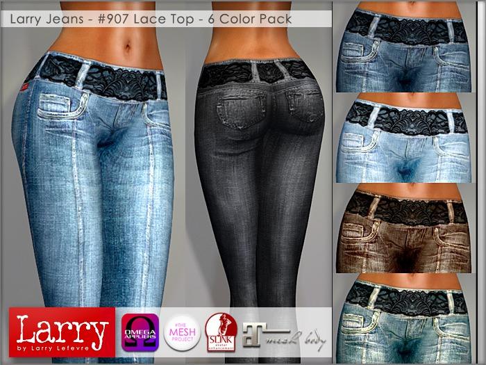 LARRY JEANS - 907 High Waist Lace Trim (6 Color Pack)