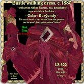 Wunderlich's burgundy Victorian walking dress c. 1880